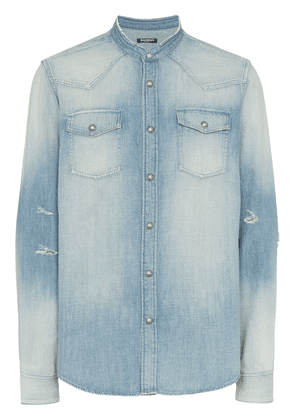 Balmain distressed denim shirt - Blue