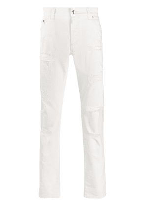 Dolce & Gabbana distressed straight-leg jeans - White