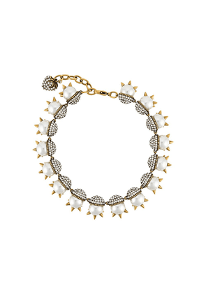 Gucci spike-embellished pearl necklace - Neutrals