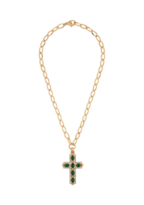 Gucci cabochon stone cross pendant necklace - Gold