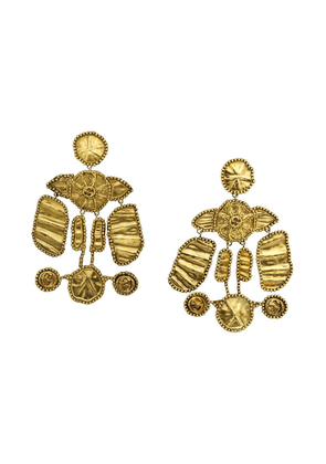 Gucci logo detail aged effect earrings - Gold