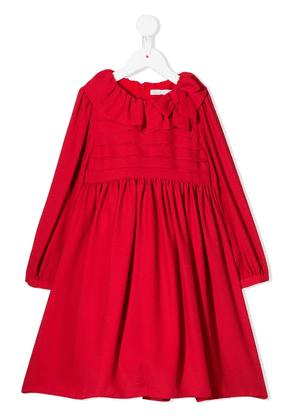 Patachou ruffled neck dress - Red