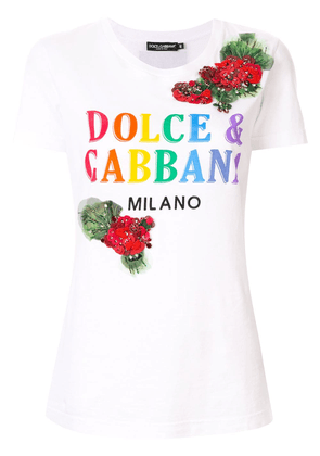 Dolce & Gabbana printed embroidered T-shirt - White