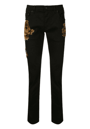Dolce & Gabbana floral flock detail skinny trousers - Black