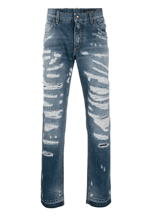 Dolce & Gabbana ripped straight leg jeans - Blue