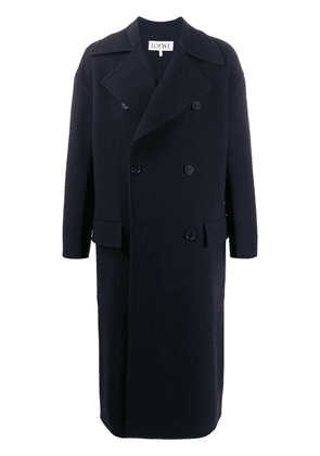 Loewe double-breasted long coat - Blue