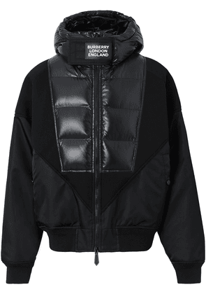 Burberry Puffer Detail Nylon and Neoprene Hooded Jacket - Black