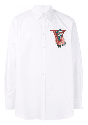 Valentino V Face Rose embroidered shirt - White