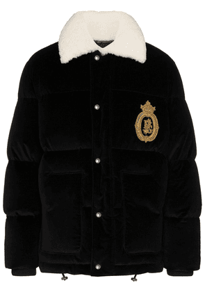 Dolce & Gabbana logo-embroidered velvet puffer jacket - Black