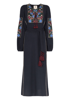 Figue Joni floral-embroidered maxi dress - Blue