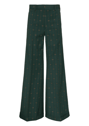 Gucci pinstripe flared trousers - Green