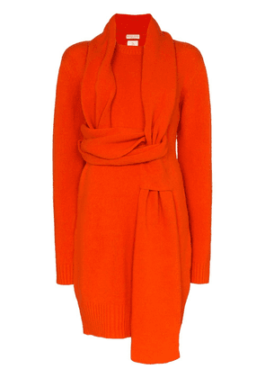 Bottega Veneta wrap-around scarf-style jumper dress - Orange