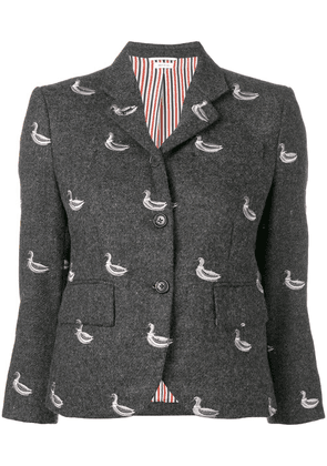 Thom Browne Duck Embroidered Classic Sport Coat - Grey