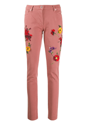 Blumarine floral embroidered skinny jeans - Pink