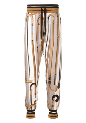 Dolce & Gabbana walking-stick print silk track pants - Brown