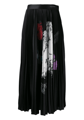 Valentino kissing butterfly print pleated skirt - Black