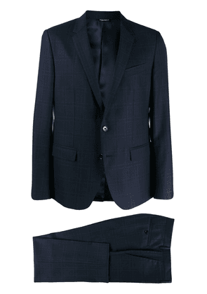 Dolce & Gabbana checked single breasted suit - Blue