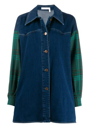 See By Chloé plaid panelled denim shirt - Blue
