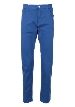 Dolce & Gabbana embroidered logo cropped trousers - Blue