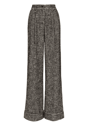Dolce & Gabbana houndstooth wide-leg trousers - Black
