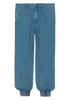 Gucci marble washed denim track pants - Blue