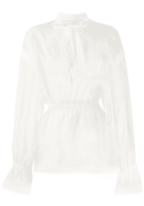 Dolce & Gabbana sheer bow front blouse - White