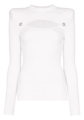 Balmain button-embellished cutout ribbed-knit top - White