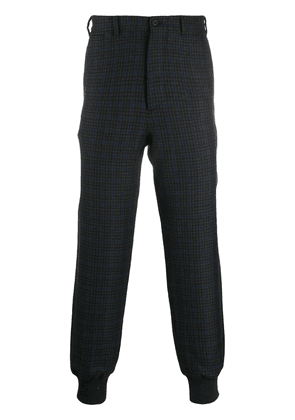 Alexander McQueen check print tapered trousers - Black
