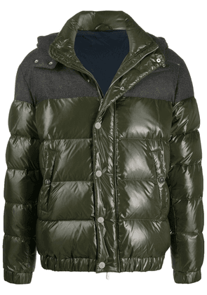 Eleventy contrast panel hooded padded jacket - Green