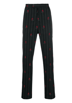 Alexander McQueen rose embroidered pinstriped trousers - Black