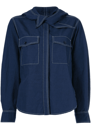 Maison Kitsuné knot detail denim shirt - Blue