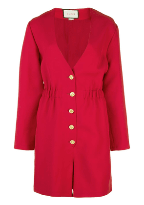 Gucci long-sleeved V-neck playsuit - Red