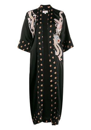 Temperley London embroidered heart-print robe - Black