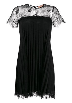 Twin-Set lace-panel pleated short dress - Black