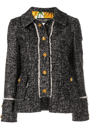 Dolce & Gabbana tweed logo button jacket - Black