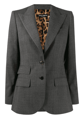 Dolce & Gabbana single breasted leopard print lining blazer - Grey