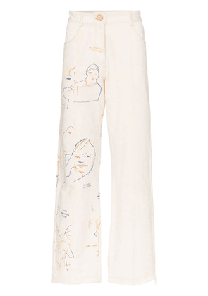 Bethany Williams portraits print straight leg jeans - NEUTRALS