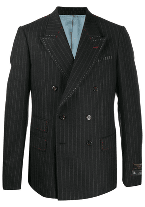 Gucci pinstripe double-breasted exposed stitching blazer - Grey