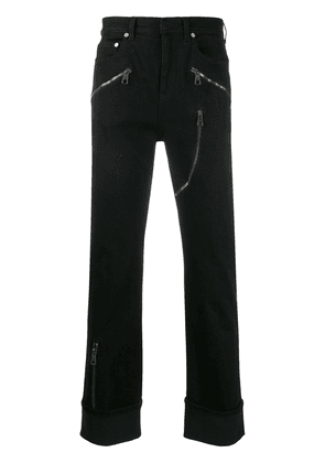 Neil Barrett zip detail mid-rise straight leg jeans - Black
