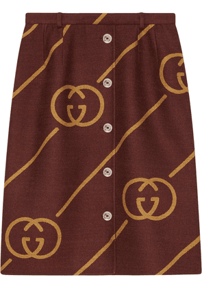 Gucci Reversible wool skirt with Interlocking G - Red
