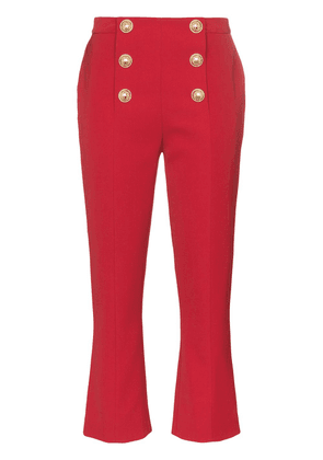 Balmain button-embellished cropped trousers - Red