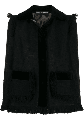 Dolce & Gabbana fringed tweed jacket - Black