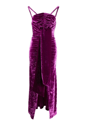 Attico crushed-velvet ruched dress - PURPLE
