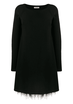 Twin-Set feather hem knitted dress - Black