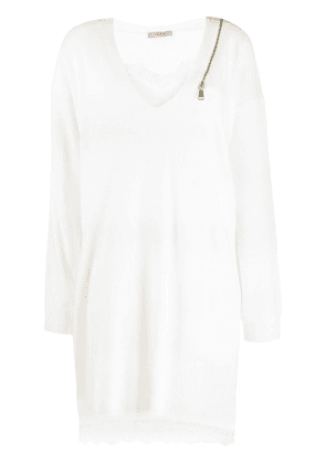 Twin-Set long-sleeve flared dress - White