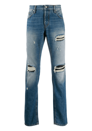 Just Cavalli ripped mid-rise straight jeans - Blue