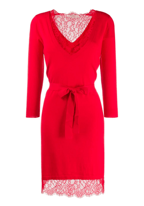 Twin-Set lace trim knit dress - Red