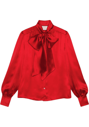 Gucci pussy-bow neck blouse - Red