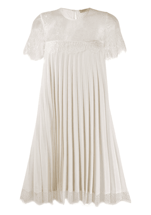 Twin-Set pleated lace-panel dress - White