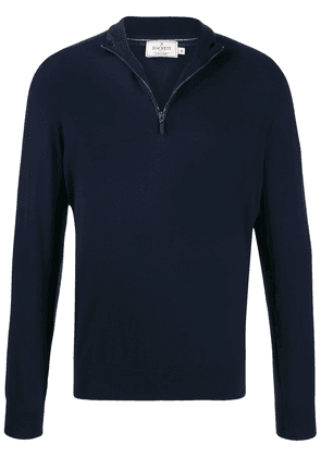 Hackett zipped elbow-patch pullover - Blue